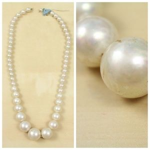 Vintage Primitive White Faux Pearl Chunky Necklace